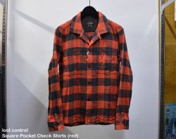 [ lost control ] スクエアーポケットチェックシャツ / Square Pocket Check Shirts (Red)