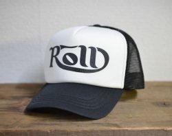 [ ROLL ] カーシヴ ロウルメッシュキャップ /Cursive ROLL Mesh Cap 2nd(white*black)