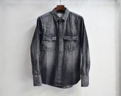 [ RUDE GALLERY BLACKREBEL ] ロードジャックデニムシャツ / ROAD JACK DENIM SHIRTS<VINTAGE WASH>-Black-