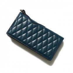 [ RUDE GALLERY BLACK REBEL ]  OUTSIDERS DIA QUILTED LEATHER WALLET <PORTER COLLABORATION>(navy)