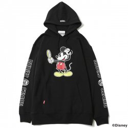 [ RUDIE'S x BYRD ] ルックスリックフードスウェット / LOOK SLICK HOOD SWEAT <MICKEY MOUSE>(bk)
