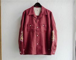 [ GERUGA ] オープンカラーシャツ / OPEN COLLAR SHIRTS -JAPAN LINEN-(FUNNY DRAGON)