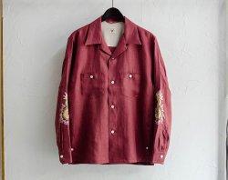 [ GERUGA ] オープンカラーシャツ / OPEN COLLAR SHIRTS -JAPAN LINEN-(FUNNY DRAGON)