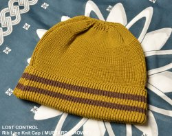 [ lost control ] リブラインニットキャップ / Rib Line Knit Cap ( MUSTARD×BROWN  )