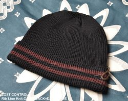 [ lost control ] リブラインニットキャップ / Rib Line Knit Cap ( BLACK×DARK WINE   )