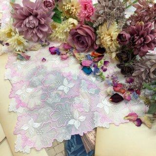 エレガントなファッションひざ掛け大判ハンカチ【グローリー】ピンクシルバー
