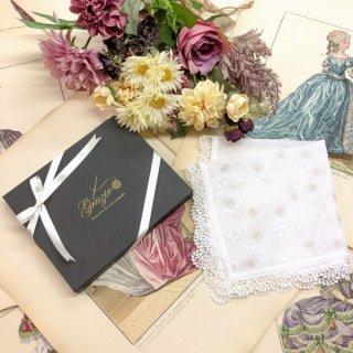 雅に咲く桜刺繍贈り物プレゼントレースハンカチ【さくら】ホワイトシルバー