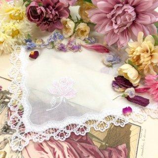 シンプル刺繍ハンカチ【Julie ジュリー】ピンク