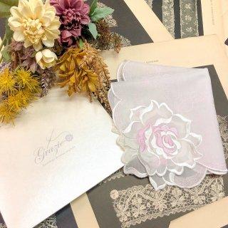 バラ刺繍ハンカチ【シルキーローズ】ホワイト×ピンク