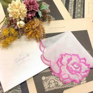 バラ刺繍ハンカチ【シルキーローズ】パープル