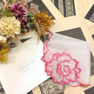 バラ刺繍ハンカチ【シルキーローズ】ビビットピンク