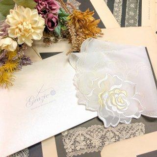 バラ刺繍ハンカチ【シルキーローズ】ホワイト×イエロー