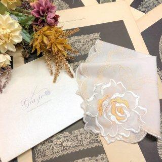 バラ刺繍ハンカチ【シルキーローズ】ホワイト×オレンジ