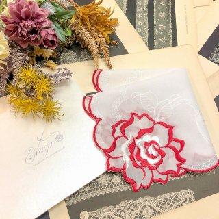 バラ刺繍ハンカチ【シルキーローズ】レッド