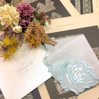 バラ刺繍ハンカチ【シルキーローズ】ブルー×ホワイト
