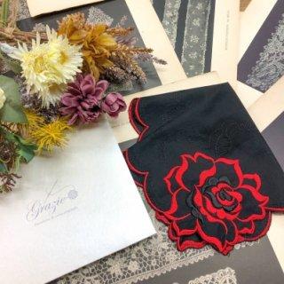 バラ刺繍ハンカチ【シルキーローズ】レッド×ブラック