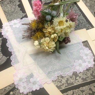 可愛さ最上級ファッションレースハンカチ【マーガレット】ピンク×ホワイト×シルバー