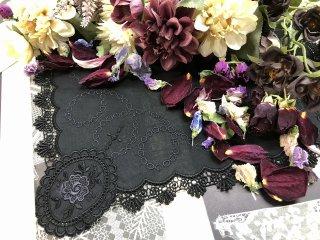 中世の香り漂うアンティークなハンカチ【オパール】ブラック
