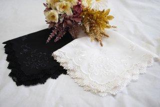 クラシカルな蔦刺繍のレースハンカチ【アイビー】<br />ホワイト/ブラックギフト2枚セット
