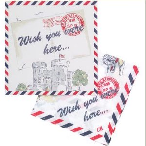 Cath Kidston ギフトカード付ハンカチ Wish you were here-1-