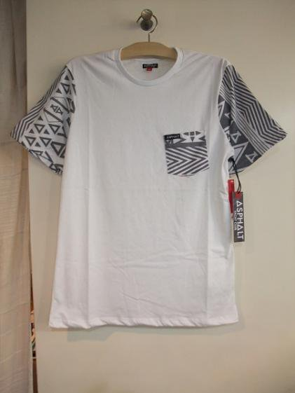 ASPHALT YACHT CLUB CONTRAST POCKET NATIVE PRINT TEE WHITE