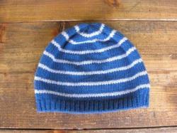 ボーダーニット帽(ブルー)