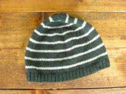 ボーダーニット帽(グリーン)