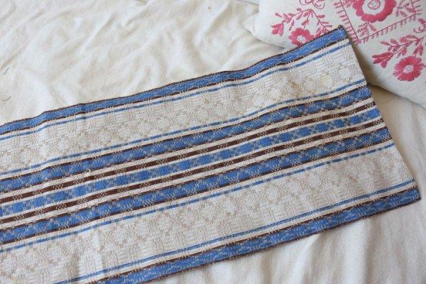 ブルーと茶色のボーダー織ロングクロス