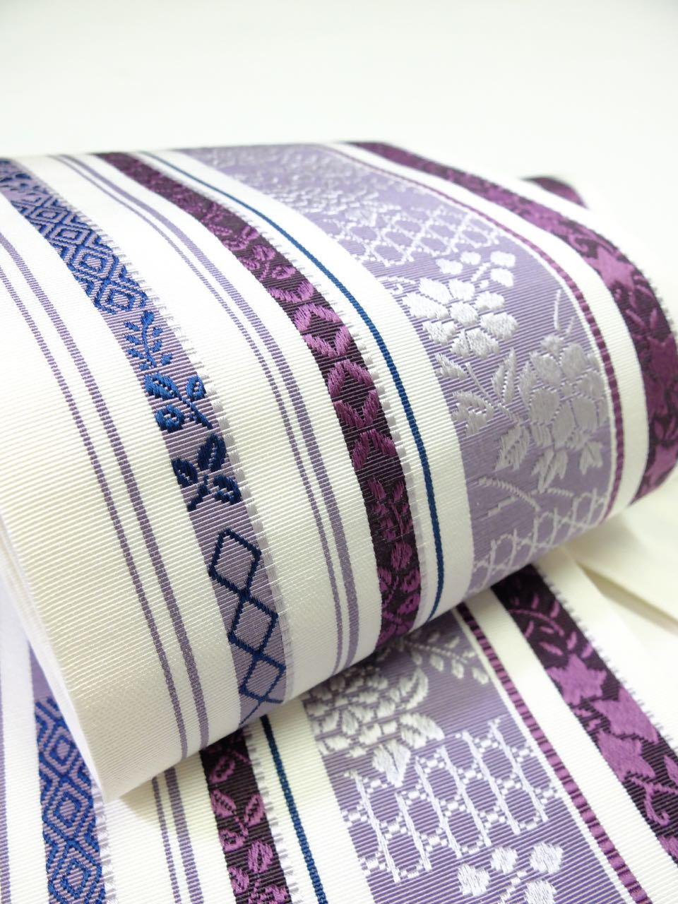 博多織 白地に濃紫 変わり縞