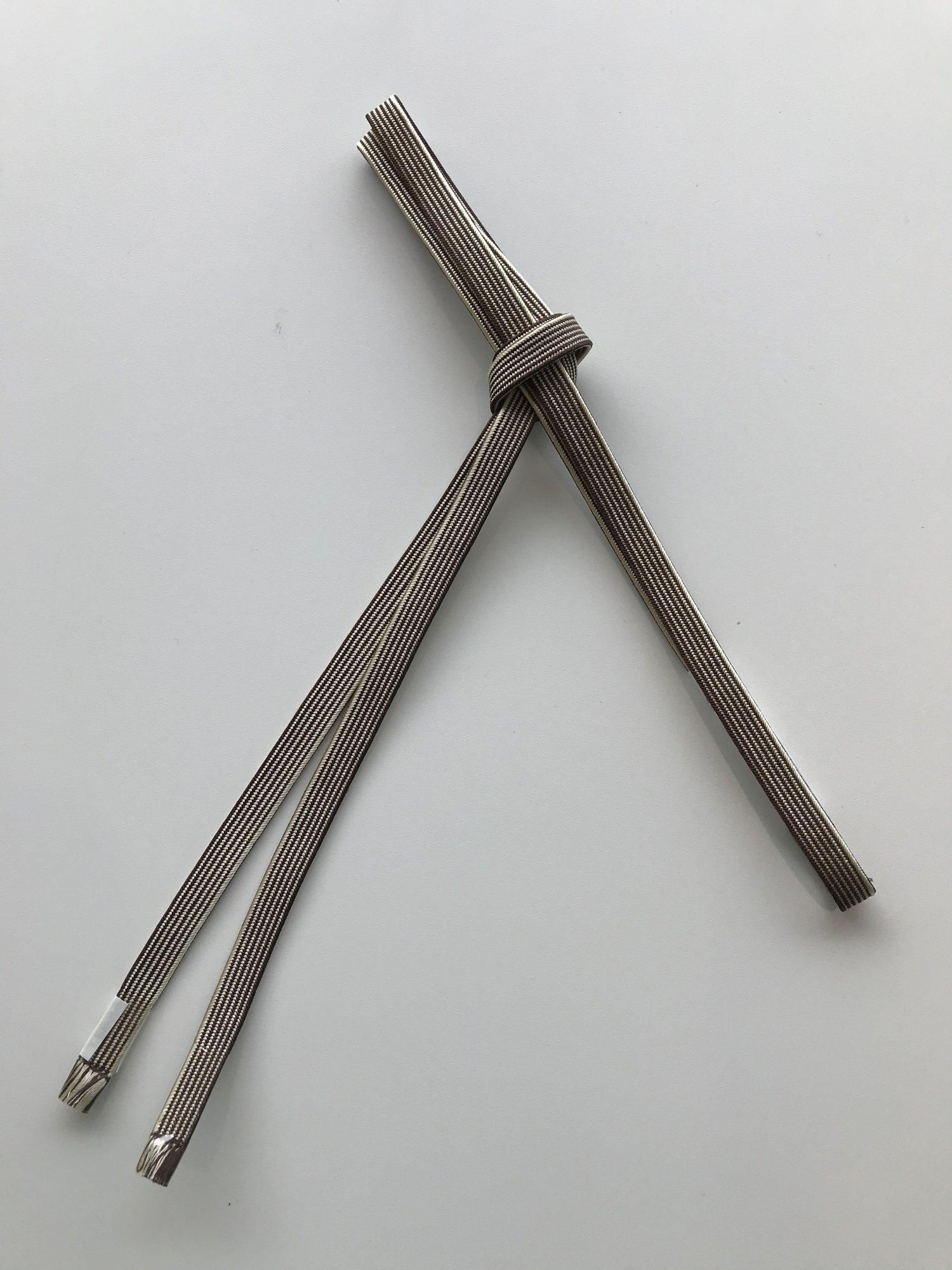 (44)正絹 三分紐 ベージュ×焦げ茶