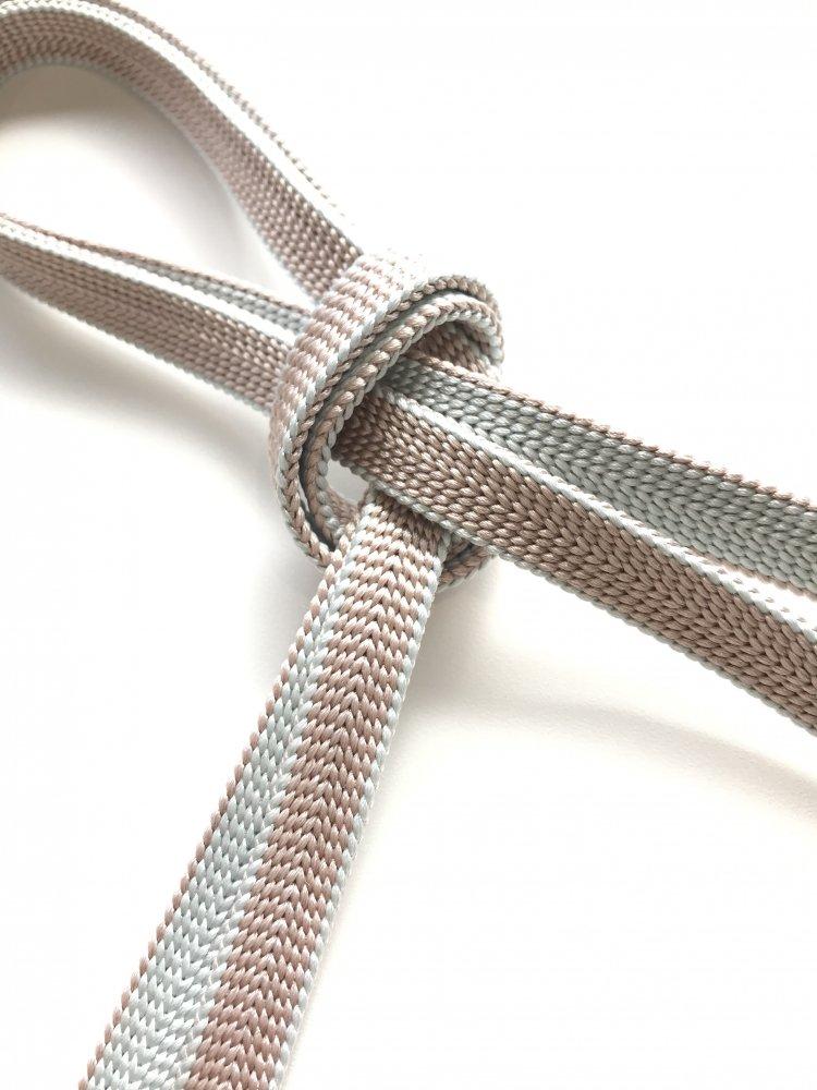 (2) 正絹 三分紐 ベージュ×薄ブルーグレー