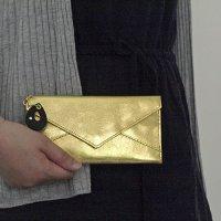 ステンレスメタリックな薄い長財布