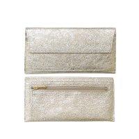 極薄長財布 フラップ収納2wayポケットウォレット(シャンパンゴールド山羊革)