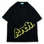 バスケ スローピングロゴ Tシャツ ブラック/ライムイエロー