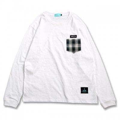 バスケ チェックポケット ロングスリーブ Tシャツ ホワイト