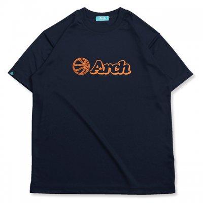バスケ アーチ ボール ロゴ Tシャツ ネイビー オレンジ