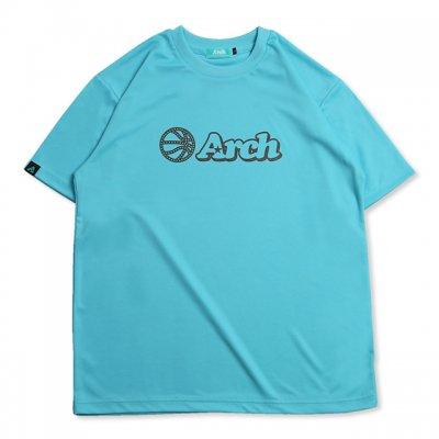 バスケ アーチ ボール ロゴ Tシャツ サックスブルー ブラウン