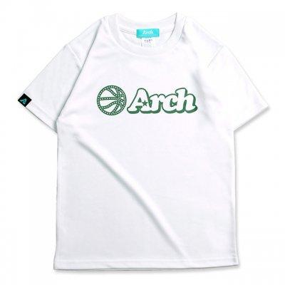 バスケ アーチ ボール ロゴ Tシャツ キッズ ホワイト グリーン