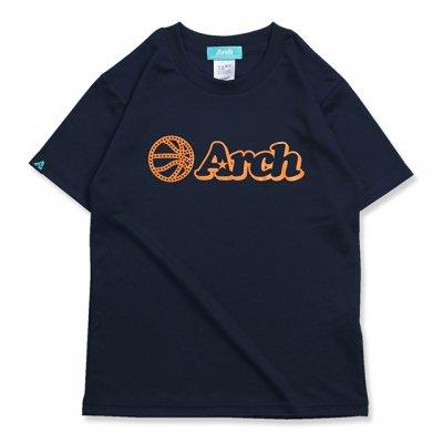 バスケ アーチ ボール ロゴ Tシャツ キッズ ネイビー オレンジ