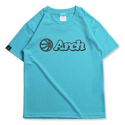 バスケ アーチ ボール ロゴ Tシャツ キッズ サックスブルー ブラウン