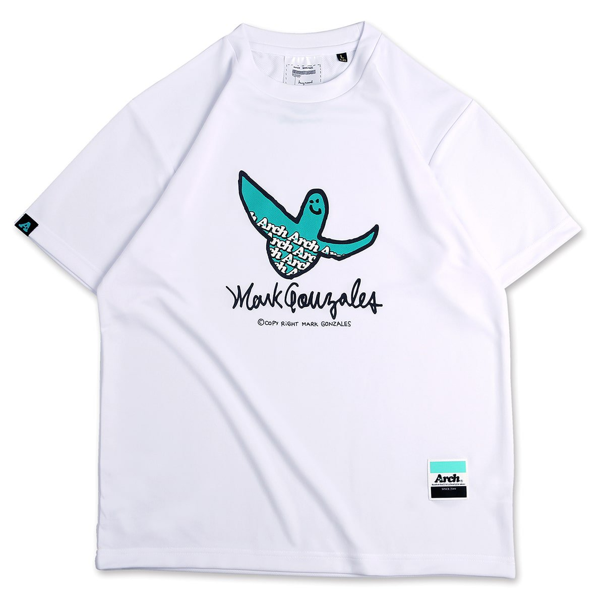 Mark Gonzales x Arch logo tee [DRY]【white】