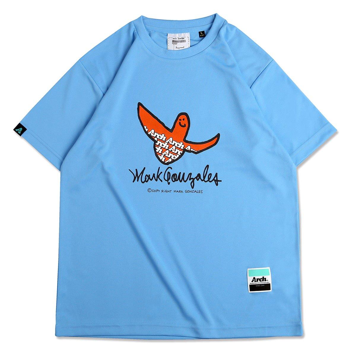 Mark Gonzales x Arch logo tee [DRY]【sax blue】
