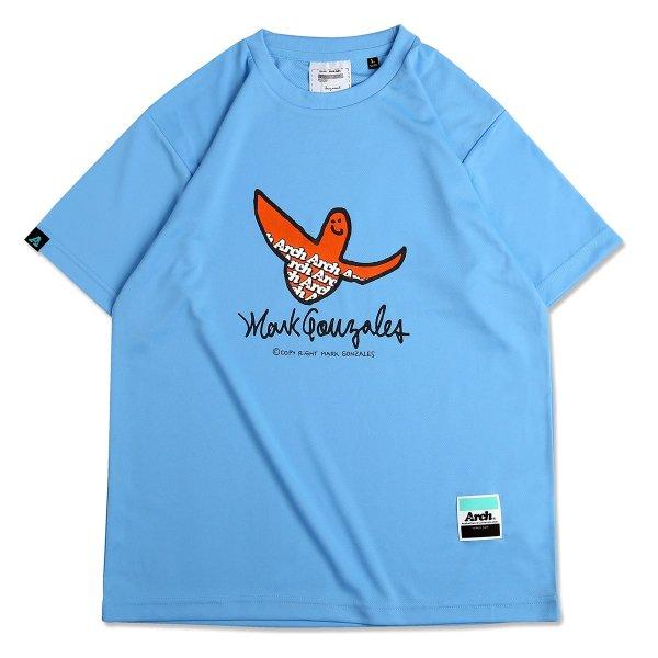 バスケ マークゴンザレス x アーチ  ロゴTシャツ サックスブルー