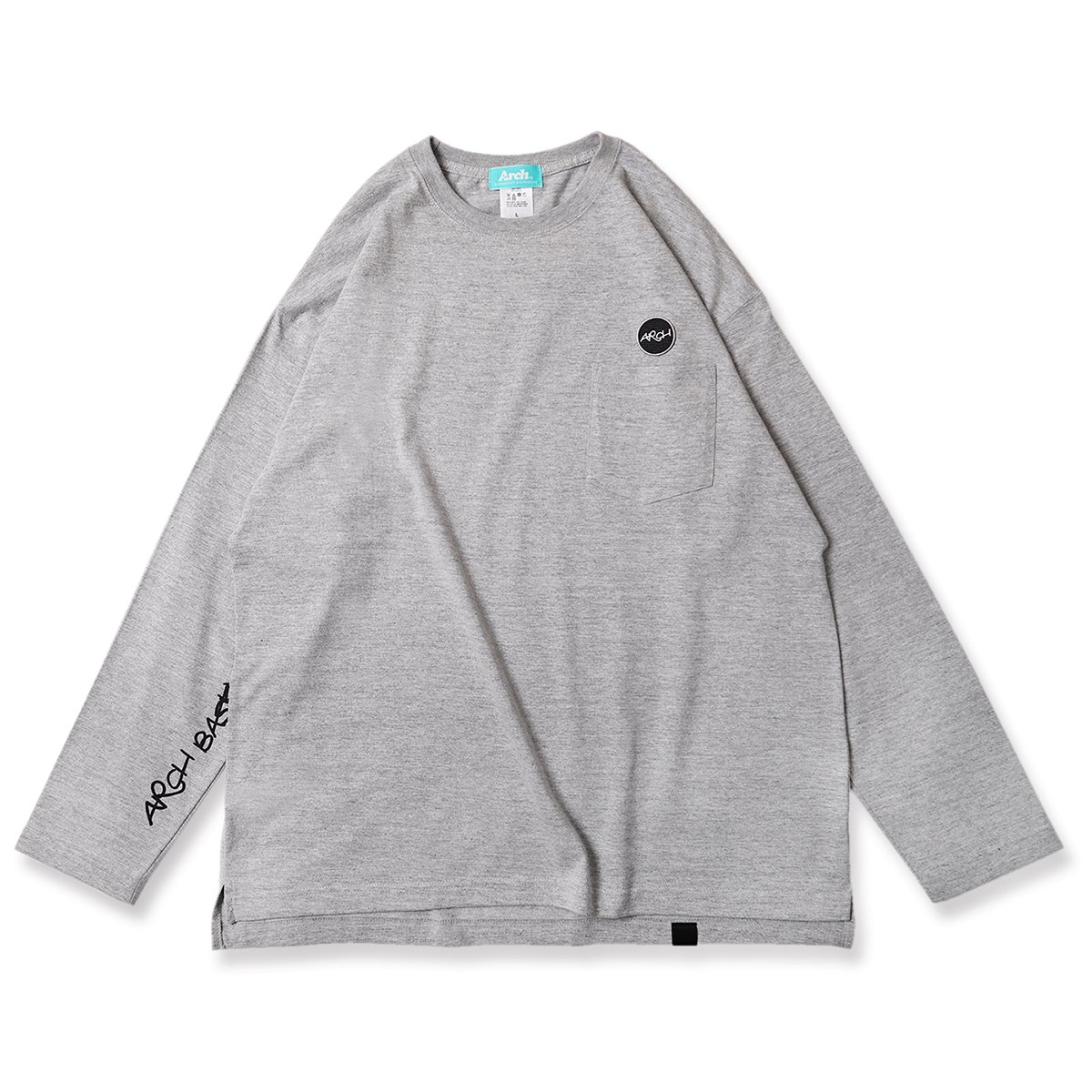 patched pocket L/S tee【gray】