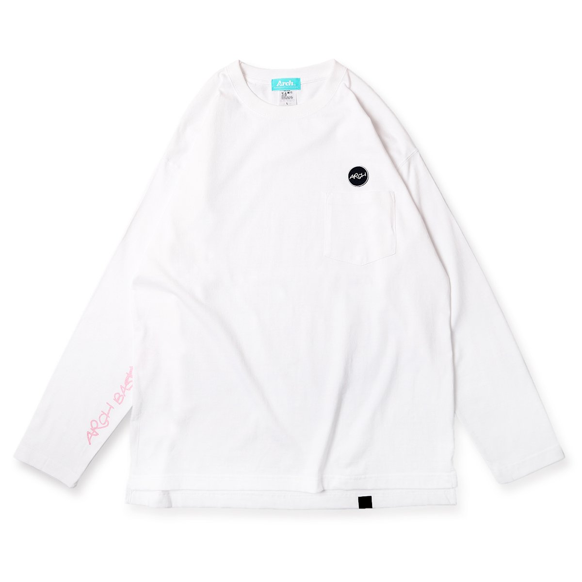 patched pocket L/S tee【white】