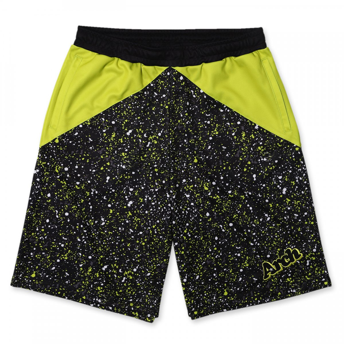 paint splatter shorts【lime yellow/black】