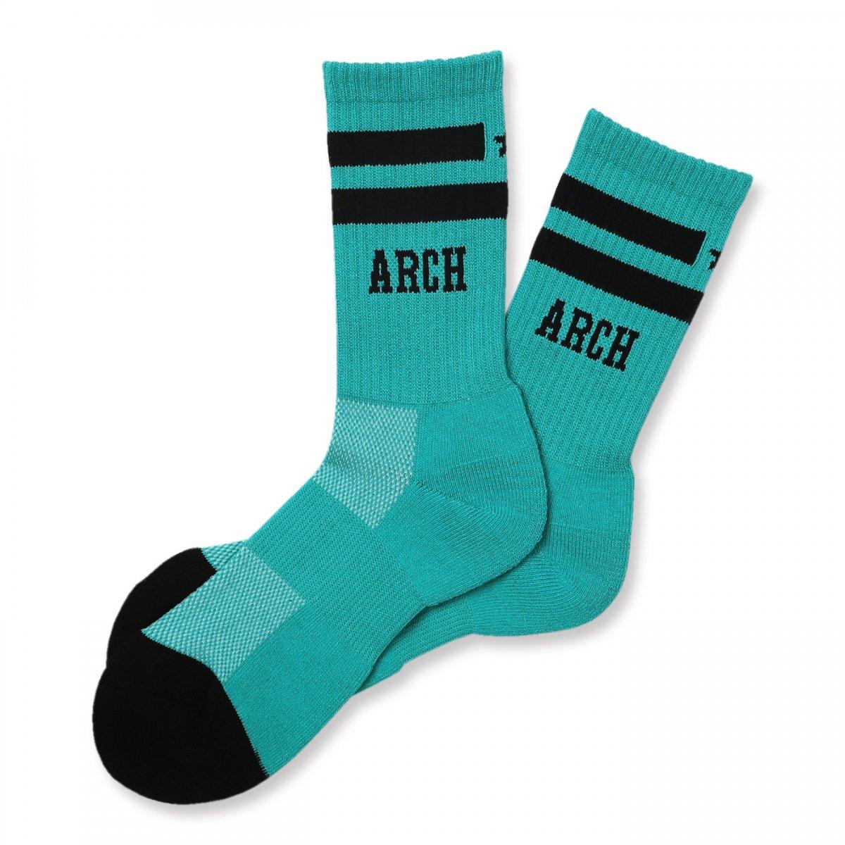 line crew star mid. socks【turquoise/black】
