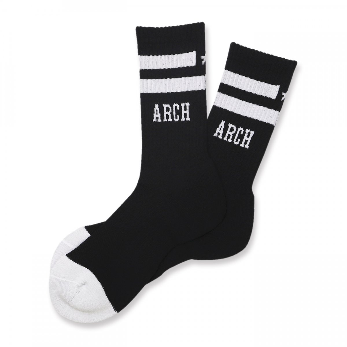 line crew star mid. socks【black/white】