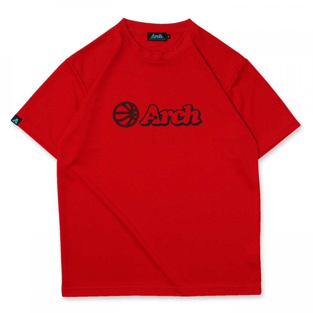 バスケ アーチ ボール ロゴ Tシャツ リッチレッド ブラック