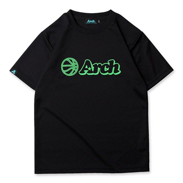 バスケ アーチ ボール ロゴ Tシャツ キッズ ブラック グリーン